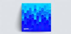 精美蓝色时尚潮流几何点线面H5封面