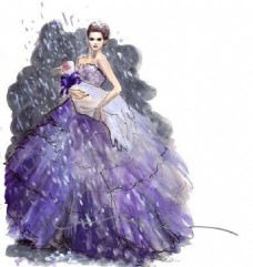 紫色抹胸礼服设计图