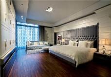 现代卧室大床背景墙设计图