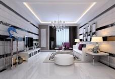 现代欧式简约客厅装修效果图