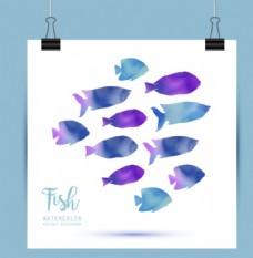 水彩鱼图案