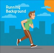 卡通在城市里跑步的男生