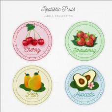 四款圆形水果标签