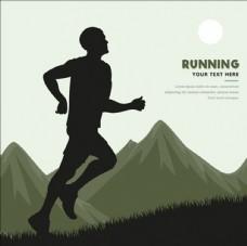在山林中跑步的男子插图