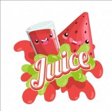 卡通微笑的西瓜汁