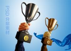 奖杯 荣誉企业展板