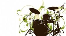 绿色花纹架子鼓背景