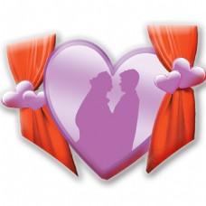 浪漫情侣爱心PSD素材