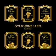 豪华的金色葡萄酒标签