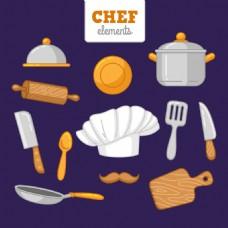 手绘风格各种厨房用品厨具矢量素材
