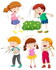 发烧咳嗽流鼻涕感冒的儿童插图