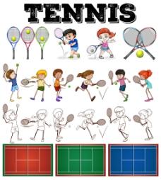 打网球的卡通孩子图片