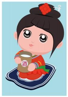 矢量图 卡通 侗族女娃  免费素材 -