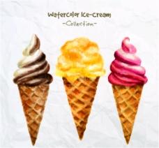 3款水彩绘甜筒冰淇淋矢量素材