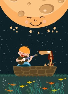 可爱小孩月亮时尚插画