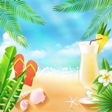 夏日暑假沙滩饮料背景图