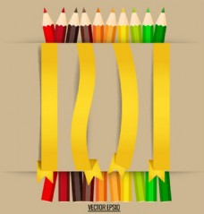 黄色彩带与彩色铅笔设计图