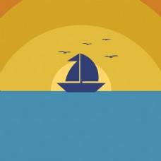 手绘轮船海洋背景