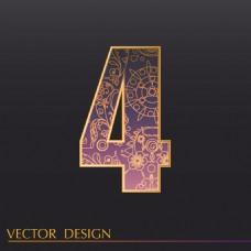 数字4装饰图案背景