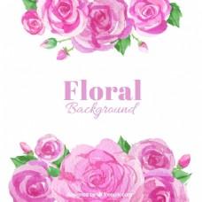 水彩背景玫瑰粉红色调