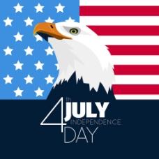 美国独立日老鹰扁平国旗背景