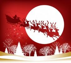 梦幻圣诞老人麋鹿背景