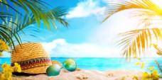 夏季沙滩墨镜清新背景