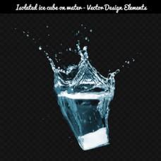 白色冰块与黑色底纹背景图