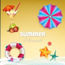 彩色夏季元素沙滩背景