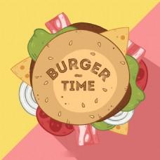 美味的汉堡培根干酪生菜插图背景