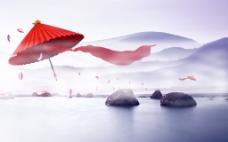 中国风红纸伞