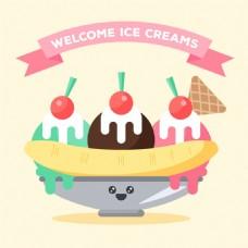 冰淇淋甜点插图平面设计背景