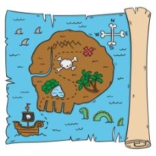 手绘羊皮纸海岛藏宝图