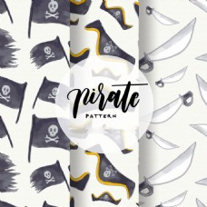 水彩效果海盗元素装饰图案
