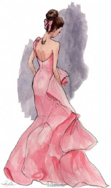 粉色露背礼服设计图