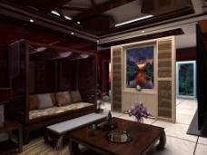 客厅效果图建模