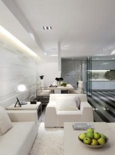 簡約客廳白色沙發效果圖