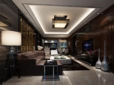 中式豪华客厅装修效果图