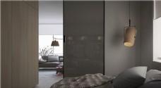 现代简约卧室大床背景墙设计图