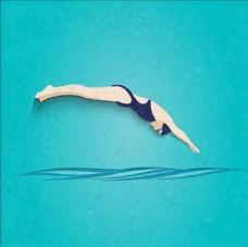 卡通游泳运动插图