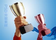 奖杯 胜利企业展板