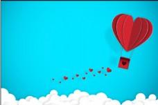 立体爱心热气球矢量