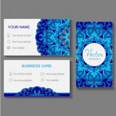 蓝色装饰花纹名片设计模板