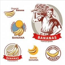 香蕉农场元素矢量图