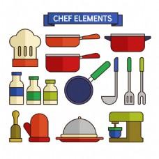 各种彩色厨师用品平面设计素材