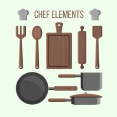 优雅的厨师用具厨具元素矢量素材