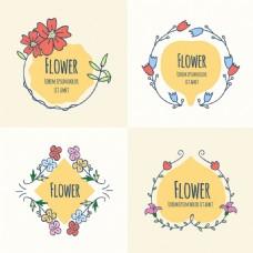 四个手绘花卉标签图标