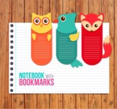 创意记事本和3个动物书签矢量素材