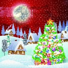 圣诞节夜晚卡通矢量素材
