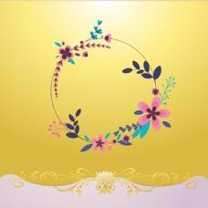 手绘花环黄底背景